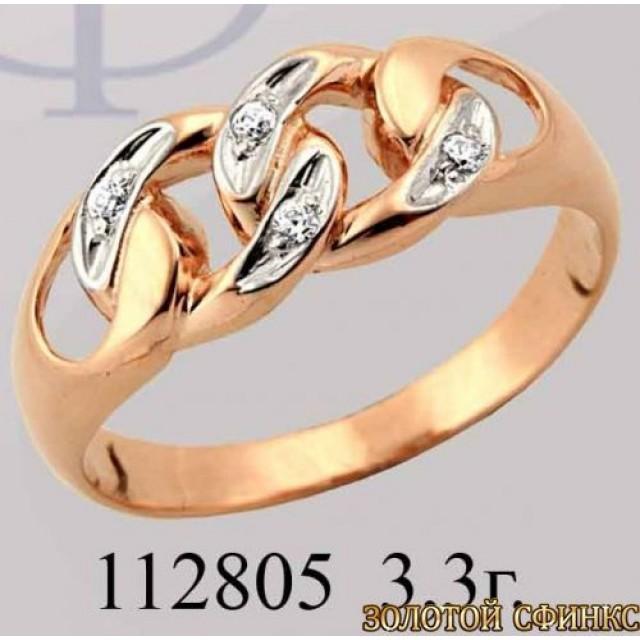 Кольцо золотое с цирконием 112805