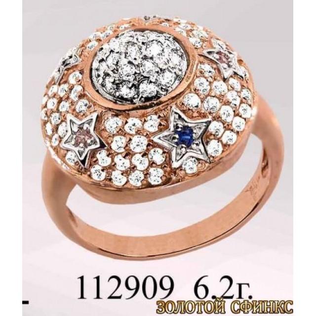 Кольцо золотое с цирконием 112909 фото