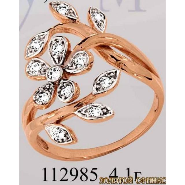 Кольцо золотое с цирконием 112985