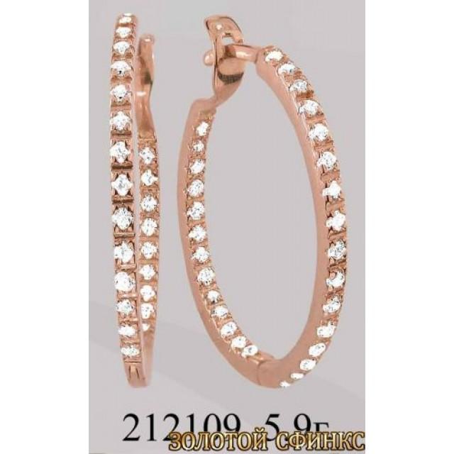 Золотые серьги с цирконием 212109