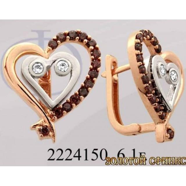 Золотые серьги с цирконием 2224150 фото