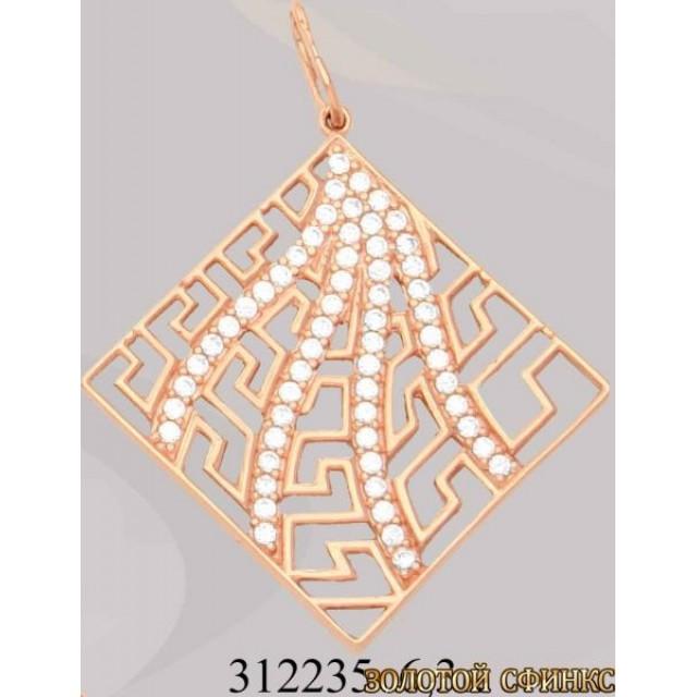 Золотой подвес с цирконием 312237
