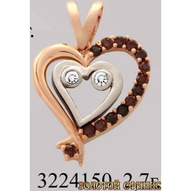 Золотой подвес с цирконием 3224150