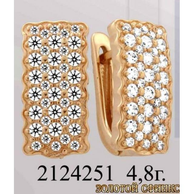 Золотые серьги с цирконием 2124251