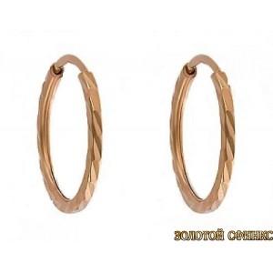 Золотые серьги кольца СК 100