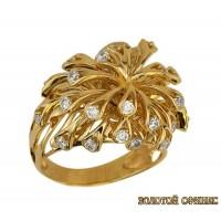 Золотое кольцо с цирконами 171