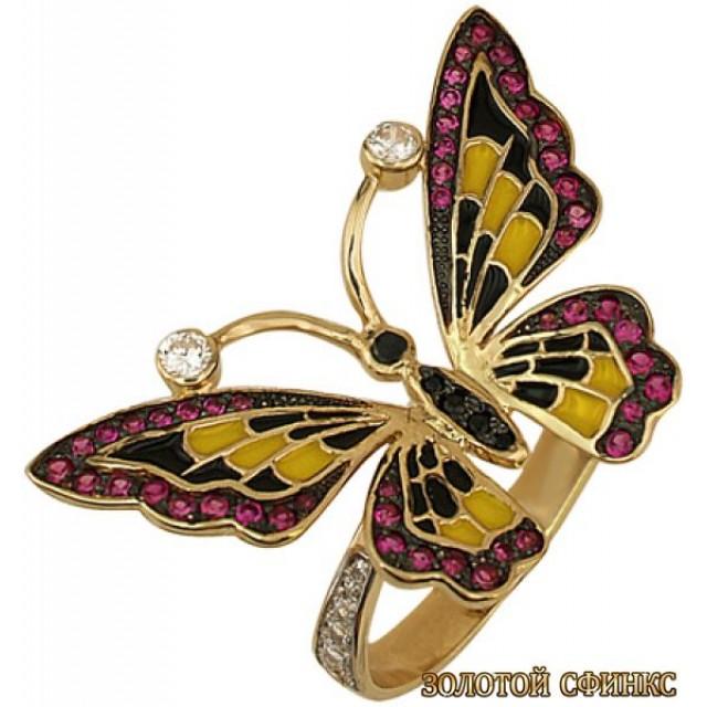 Золотое кольцо с цирконами 177-2