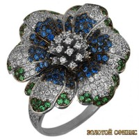 Золотое кольцо с цирконами 199-2