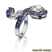 Золотое кольцо с цирконами 30005ad