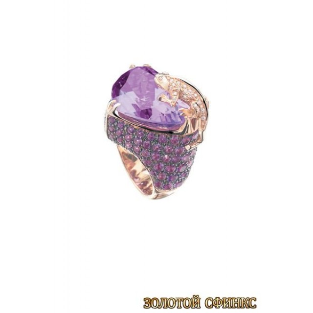 Золотое кольцо с цирконами 30009acr
