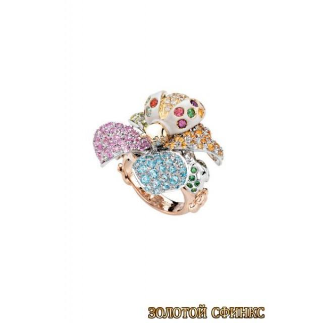 Золотое кольцо с цирконами 30013acr