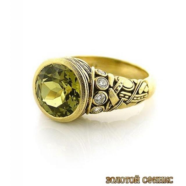 Золотое кольцо с цирконами 30024ass
