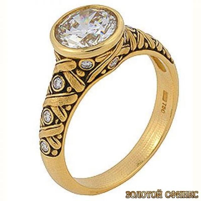 Золотое кольцо с цирконами 30027ass