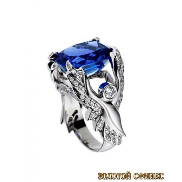 Золотое кольцо с цирконами 30042adc