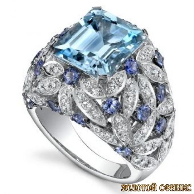 Золотое кольцо с цирконами 30054ay