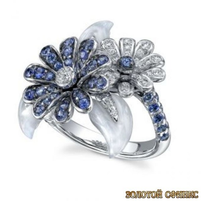 Золотое кольцо с цирконами 30063ay