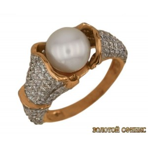 Золотое кольцо с жемчугом 1525 фото