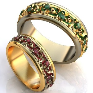 Золотое обручальное кольцо с эмалью 415104