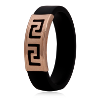 Золотое кольцо с каучуком 900619