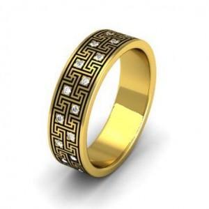Золотое обручальное кольцо с эмалью 401110