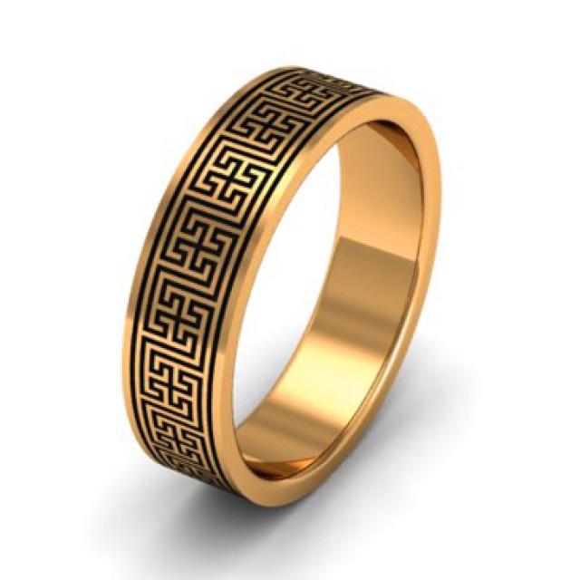 Золотое обручальное кольцо с эмалью 410115
