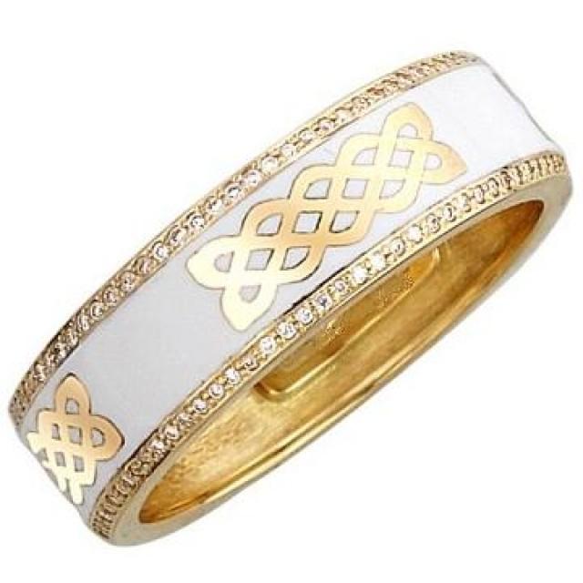 Золотое обручальное кольцо с эмалью 410120