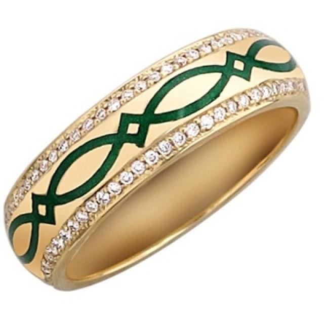 Золотое обручальное кольцо с эмалью 410125