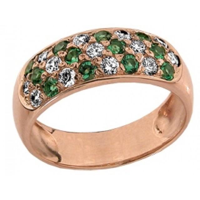 Золотое кольцо с цирконами КВ 373 ЮЭ