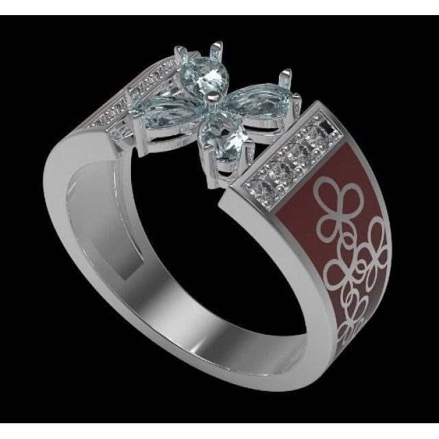 Золотое обручальное кольцо с эмалью и топазами 410135