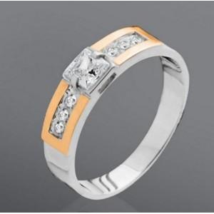 Серебряное кольцо с золотыми вставками 006