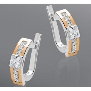 Серебряные серьги с золотыми вставками 006 фото