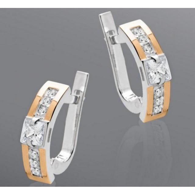 Серебряные серьги с золотыми вставками 006