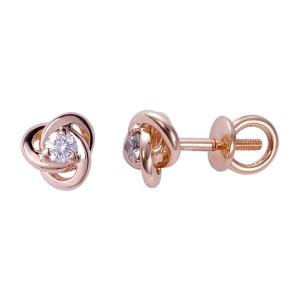 Золотые серьги гвоздики с бриллиантами 3031683