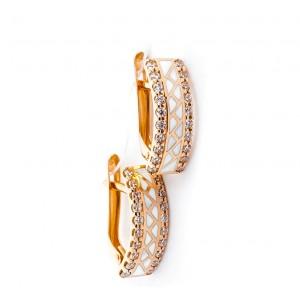 Золотые серьги с эмалью и цирконами