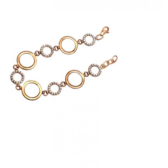 Золотой браслет с цирконами 071-01