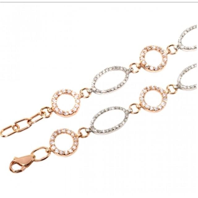 Золотой браслет с цирконами 076-01