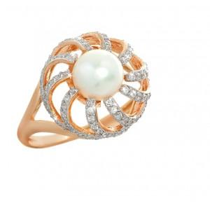 Золотое кольцо с цирконами и жемчугом 692-35