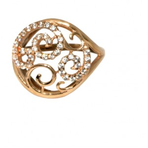 Золотое кольцо с цирконами 596-01