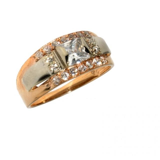 Золотое кольцо с цирконами 594-01