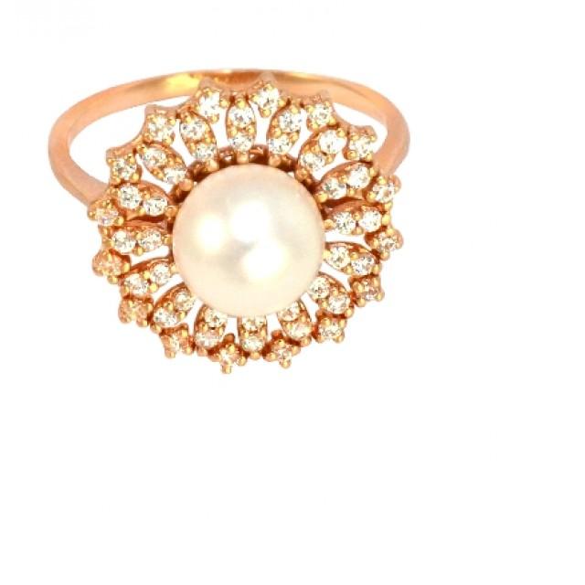 Золотое кольцо с цирконами и жемчугом 685-35