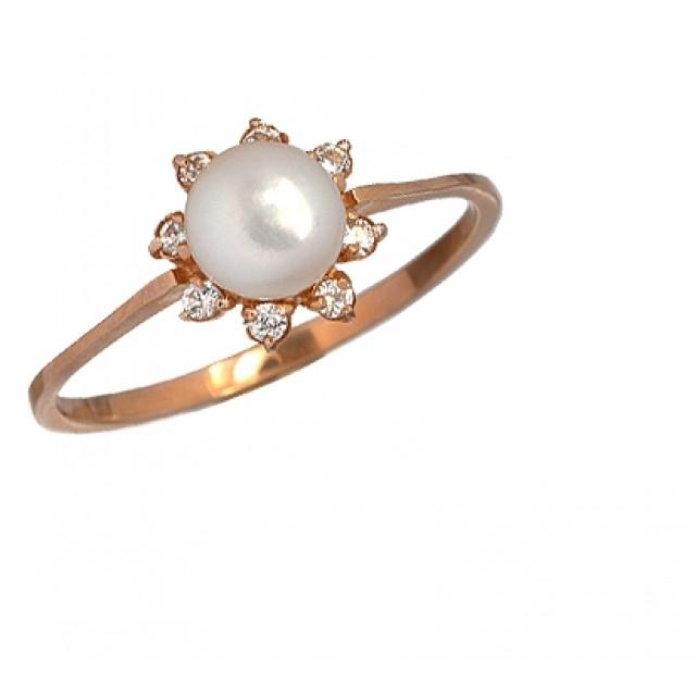 Золотое кольцо с цирконами и жемчугом 005-35
