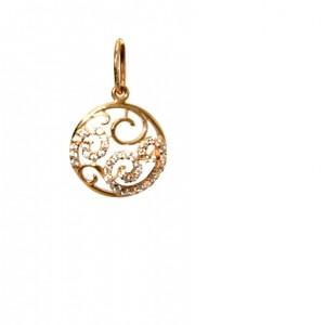 Золотая подвеска с цирконами 329-01