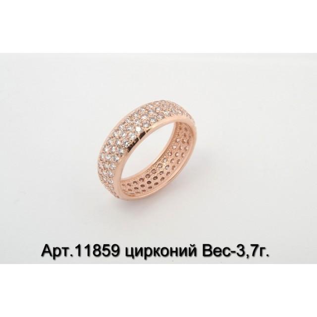 Золотое кольцо с цирконами 11859 фото