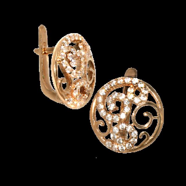 Серьги золотые с цирконами 355-01
