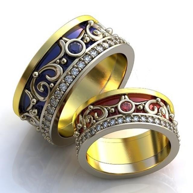 Золотое обручальное кольцо с эмалью 410160