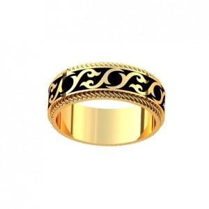 Золотое обручальное кольцо с эмалью 101110