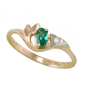 Золотое кольцо с изумрудом zt-700142e фото