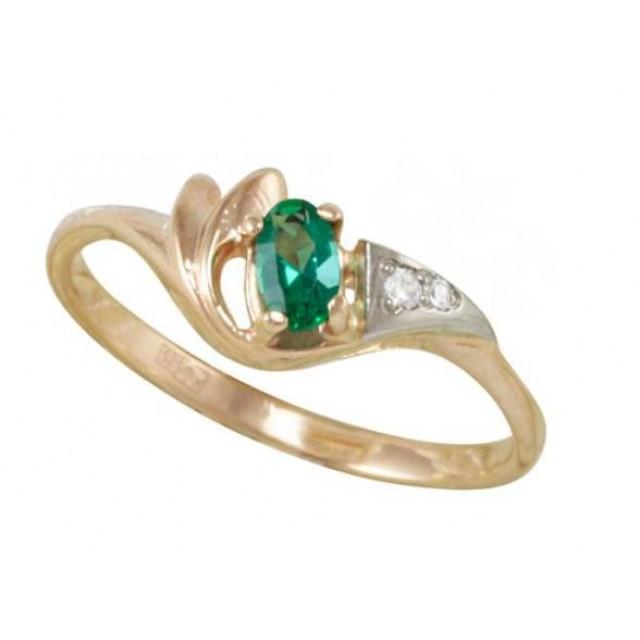 Золотое кольцо с изумрудом zt-700142e