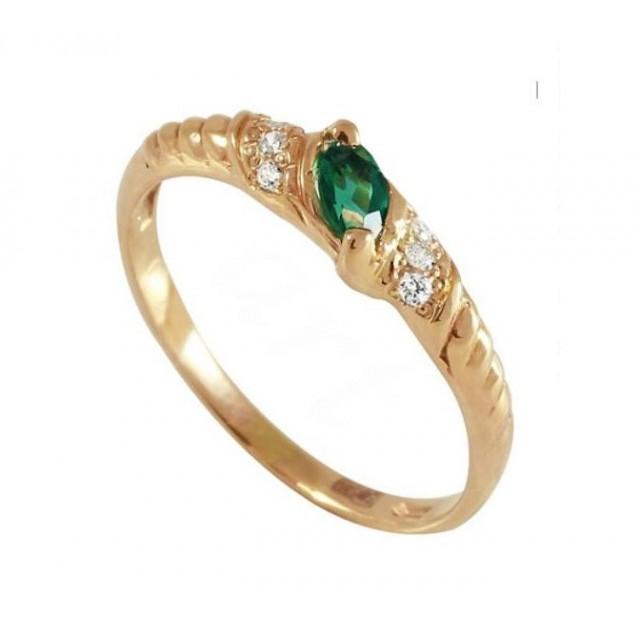 Золотое кольцо с изумрудом zt-700155e фото