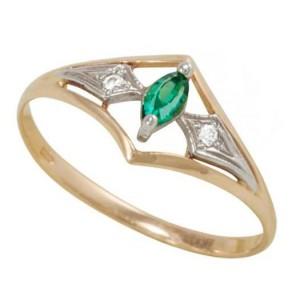 Золотое кольцо с изумрудом zt-700225e фото